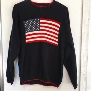 VINTAGE American Flag Pullover Sweatshirt L